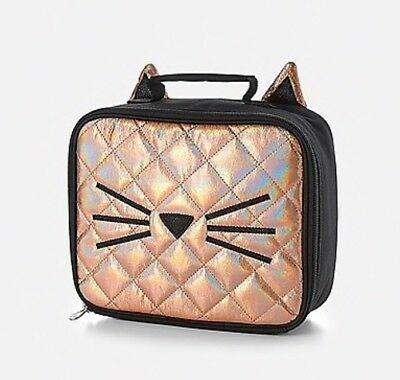 Justice Girls Quilted Cat Lunch Tote Lunch Box  NWT