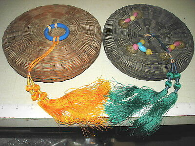 """2 Antique Woven Chinese Asian Sewing Basket Tassels Coins Beads Ring 7"""" Dia Lot"""