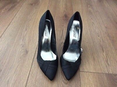 3b4863cd31b8 New Look Black Satin Court Shoes Heels Size 40 UK 7 Wide Fit Hardly Worn