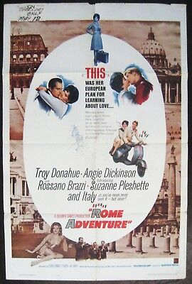Rome Adventure 1962 Troy Donahue Suzanne Pleshette Angie Dickinson US Poster