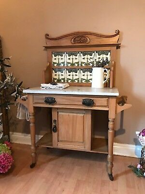 Antique Arts and Crafts Wash Stand with Pot Cupboard and Tiled Back Art Nouveau