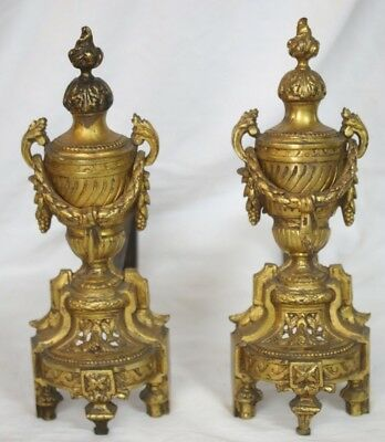 Vintage Andirons Brass and Cast Iron Ornate Fireplace Log Holders