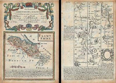 1736 Owen and Bowen Map of Flintshire w/ Map: Shrewsbury to Holywell on Verso
