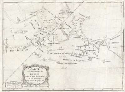 1777 Croisey Map of the Russian Discoveries in Alaska and Bering Strait