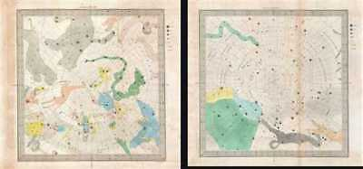 1845 Bradford Set of Two Celestial Maps of the Constellations at the Poles