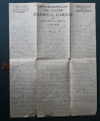 1910s Era Center,Texas Maxwell motor cars & Gulf gas and oil station letter-RARE