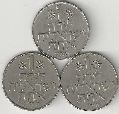 3 DIFFERENT 1 LIRA COINS from ISRAEL (1973, 1975 & 1979)