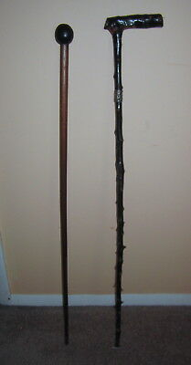Pair Antique Vintage Walking Sticks Sterling Band