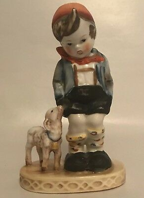 "Vtg Occupied Japan Boy with Lamb Porcelain Figurine MARUYAMA 5.5""   A6"