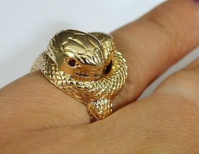 Vintage Handmade Solid 14kt Yellow Gold & Rubies Figural SNAKE Knot Ring 10.1dwt