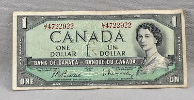 1954 $1 Bank Of Canada Ottawa $1 Note / Bill! No Reserve!