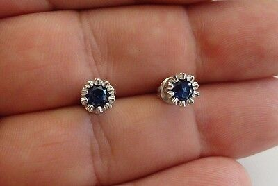 925 Sterling Silver  Stud Earrings W/ 1 Ct Tanzanite  / 6Mm Diameter/ New Design