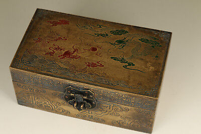 Big Rare Chinese Old Copper Hand Carved Dragon Statue Jewel box