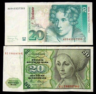 Pair of West Germany 20 Mark Notes - 1980 & 1991 - VF to VF+ - Very Fine