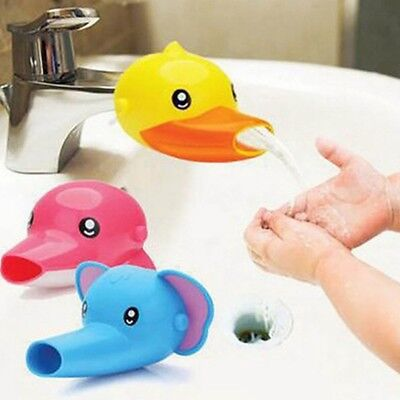 Faucet Extender Kids Animals Happy Fun Tubs Baby Hand Washing Bathroom Sink New