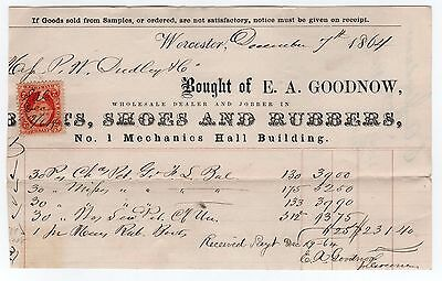 1864 BILLHEAD Goodnow Boots Shoes Rubbers WORCESTER MASSACHUSETTS Dudley MASS MA