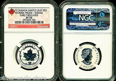 2015 $3 Canada Silver Maple Leaf Incuse Ngc Pf70 Ucam Reverse Proof 1/4 Oz .9999