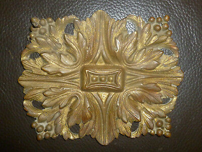 antique Brass Bronze Ornamental ART NOUVEAU ORNATE METAL PLATE 5x4 Acanthus Leaf