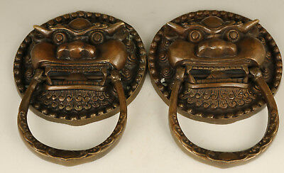 Big Rare Chinese Old Copper Hand Carved Double lion Statue latch