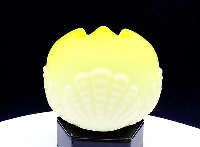 """Mt Washington Victorian Yellow Cased Glass Shell Embossed 3 3/4"""" Rose Bowl"""