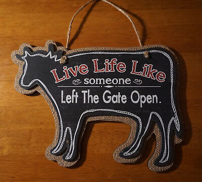 NEW Country Primitive Cow Sign Rustic Kitchen Dairy Farm Home Decor Sign FUNNY