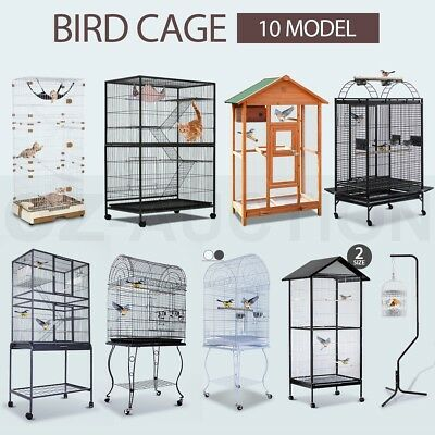 Multi Size Bird Cage Parrot Pet Carrier Portable Canary Budgie Finch Perch Stand