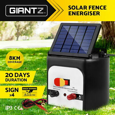 Giantz 8km Solar Power Electric Fence Energiser Energizer Charger 0.3J Farm Whit