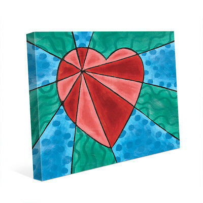 Heart Rays Red Wall Art Print on Canvas