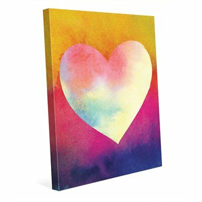 Canary Masked Heart Wall Art Print on Canvas