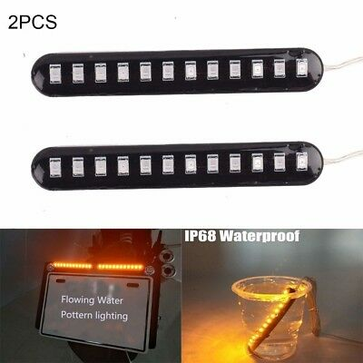 2pcs Flowing Motorcycle Turn Signal Indicator Car Strips Amber Light 12LED