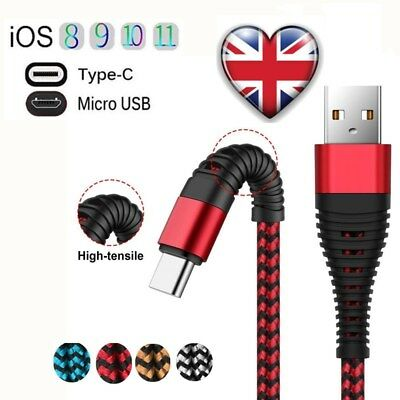 UK Braid Micro USB Type-C IOS High speed Fast Charger Cable For iPhone Samsung