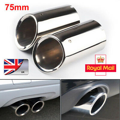 2× 75mm Stainless Steel Chrome Exhaust Tail Rear Muffler Tip Pipe Audi A4 B8 Q5