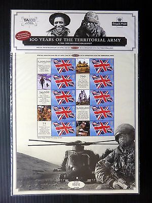 GB 2008 100th Anniversary of the Territorial Army Lt Ed Mint SMILERS SHEET UT736