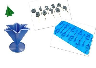 Set x 2, Number 0-9 Candle Birthday Mould Tray & 6 Pointed Star Mould S7595