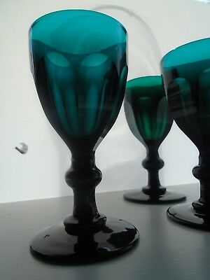 Antique Superb Georgian/early Victorian Bristol Green 3 faceted Wine Glasses