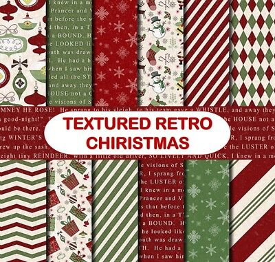 TEXTURED RETRO CHRISTMAS SCRAPBOOK PAPER - 12 x A4 pages