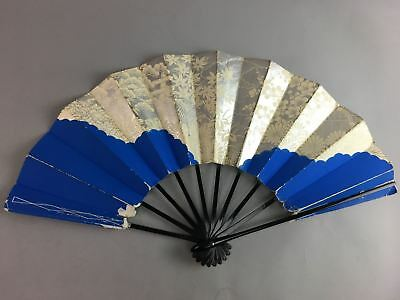 Japanese Folding Fan Sensu Bamboo Wood Paper Black Lacquer Silver Blue 4D196
