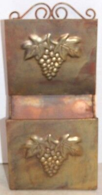 Gold Metal Wall Pockets with Grape Design