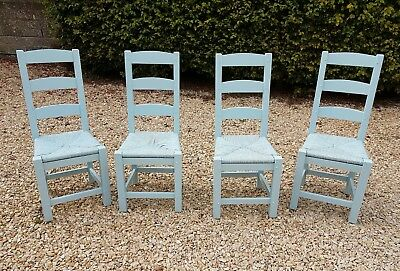 Painted Oak Ladder Back Rush Seat Dining Chairs Ice Blue By