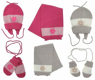 Baby Girls Knitted Striped Hat Scarf & Mittens Set