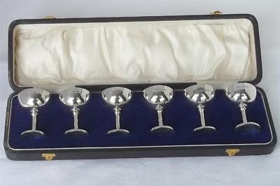 Antique Boxed Set Of Six Solid Sterling Silver Footed Flute Cups Dates 1919.