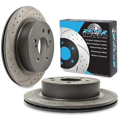 REAR DRILLED GROOVED 296mm BRAKE DISCS FOR NISSAN SKYLINE R33 2.5 GTST 93-98