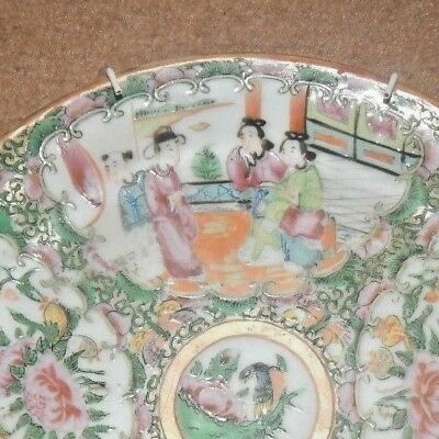 ANTIQUE CHINESE FAMILLE ROSE CANTON PORCELAIN CABINET PLATE C.1880 Hand Painted