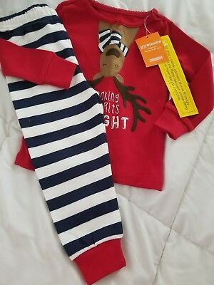 NWT Gymboree Christmas girls Gymmies Reindeer Pajama set Holiday sz 18/24