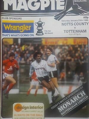 NOTTS COUNTY v TOTTENHAM HOTSPUR,FA CUP 4th round,25.1.86