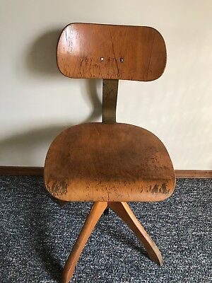 MCM Polster Gleich Industrial Architect Swivel Wood Chair Mid Century Antique