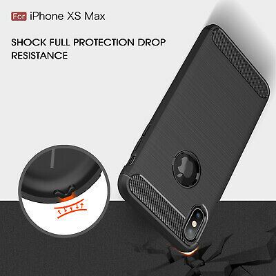 For Apple Iphone XR XS Max Luxury Carbon Fiber Silicone Armor Shockproof Case