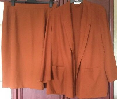 Stunning Two Piece Skirt Suit, Jacques Vert Plus , Size 24 Rust Brown
