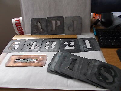 Job Lot 36 Antique Zinc Metal Stencils - Signs & 1 Copper.unsorted.sold As Seen.