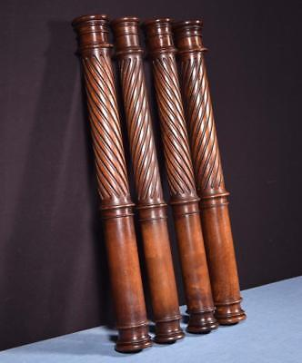 *Set of Four French Antique Solid Wanut Posts/Pillars/Columns Salvage